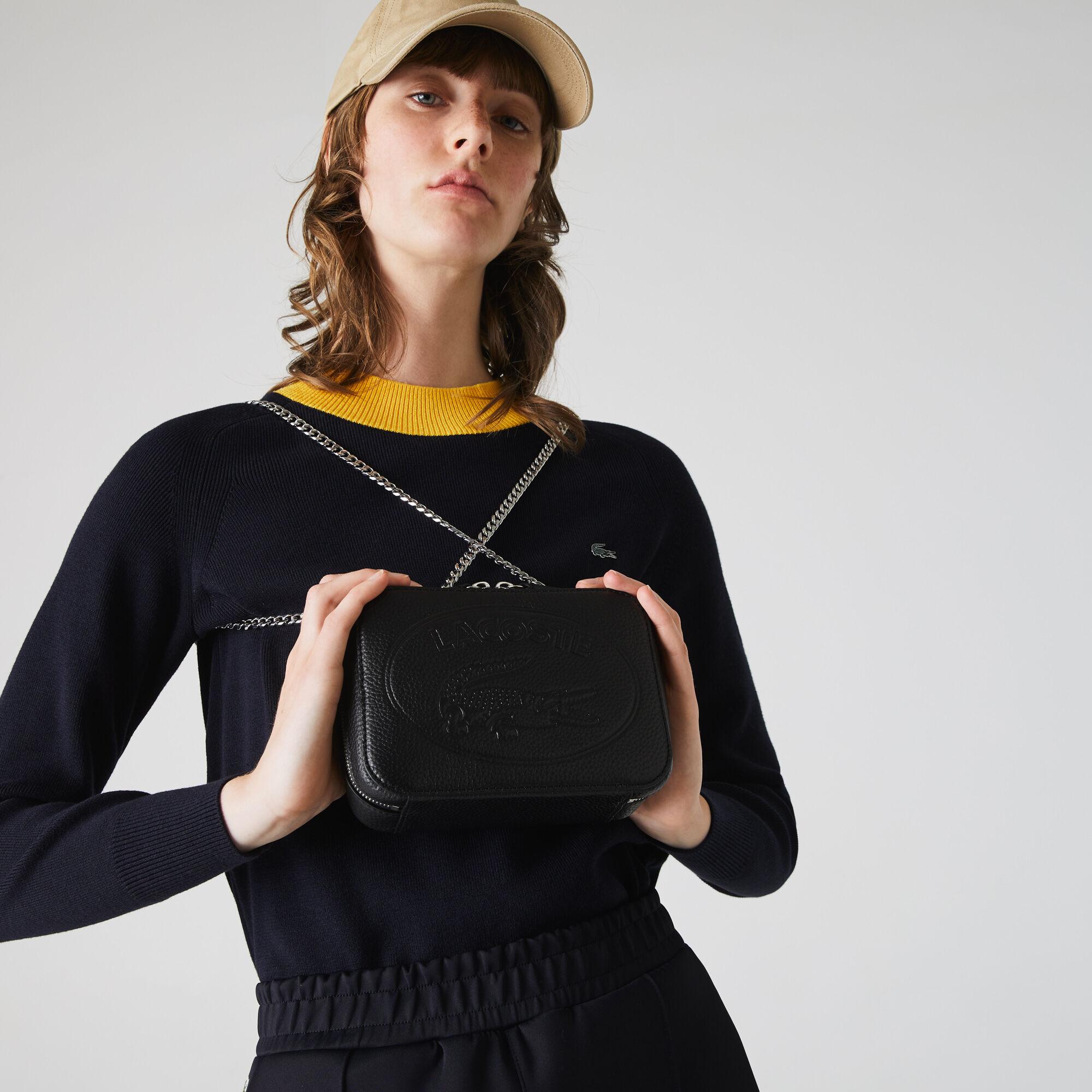 حقيبة على الكتف نسائية بسحاب من الجلد المدبوغ المحبب من مجموعة Croco