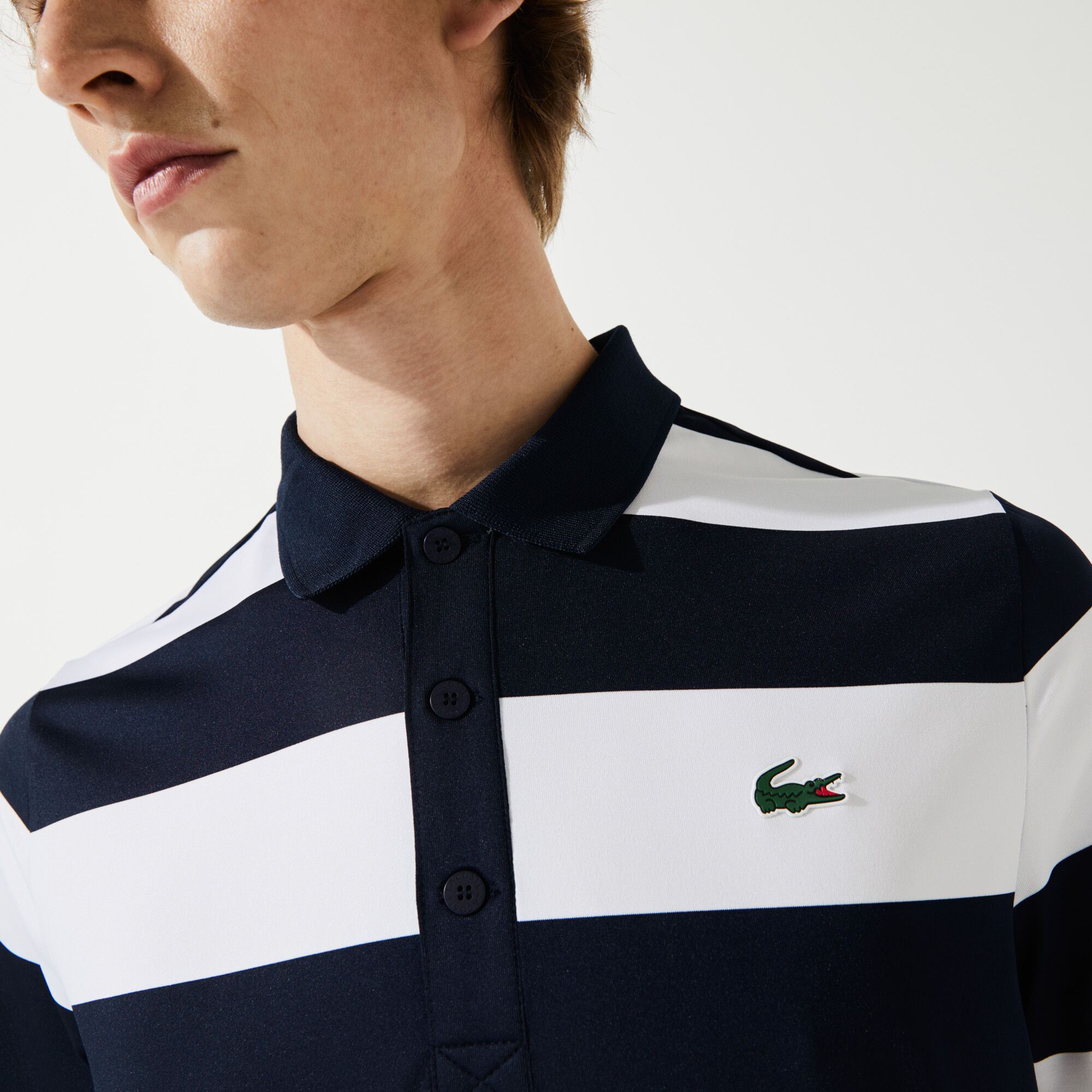 Men's Lacoste SPORT Striped Breathable Stretch Golf Polo Shirt
