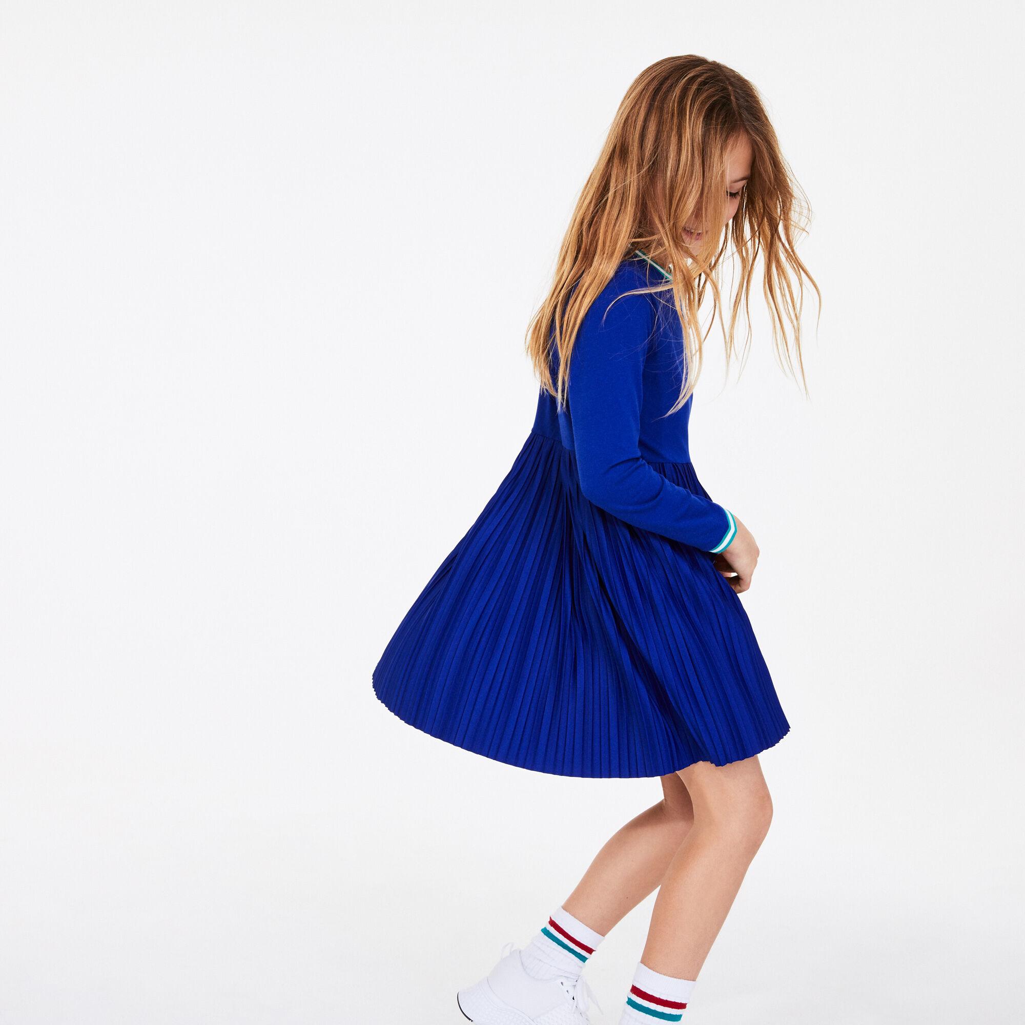 Girls' Crew Neck Pleated Cotton Dress
