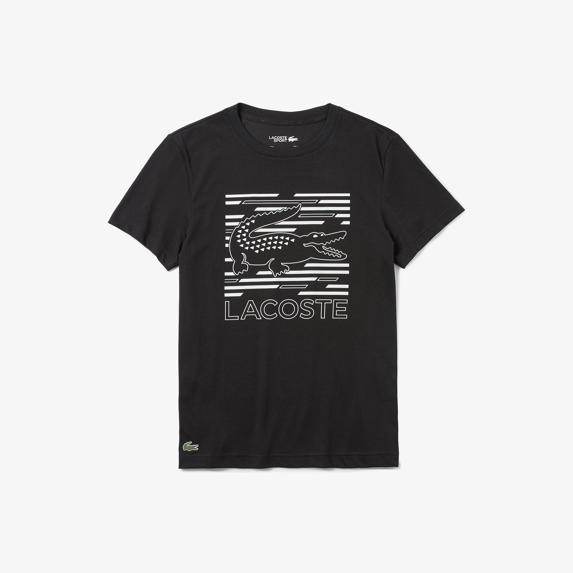 Men's Lacoste SPORT Crocodile Printed Breathable T-shirt