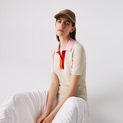 Women's Polo Collar Two-tone Cotton Sweater
