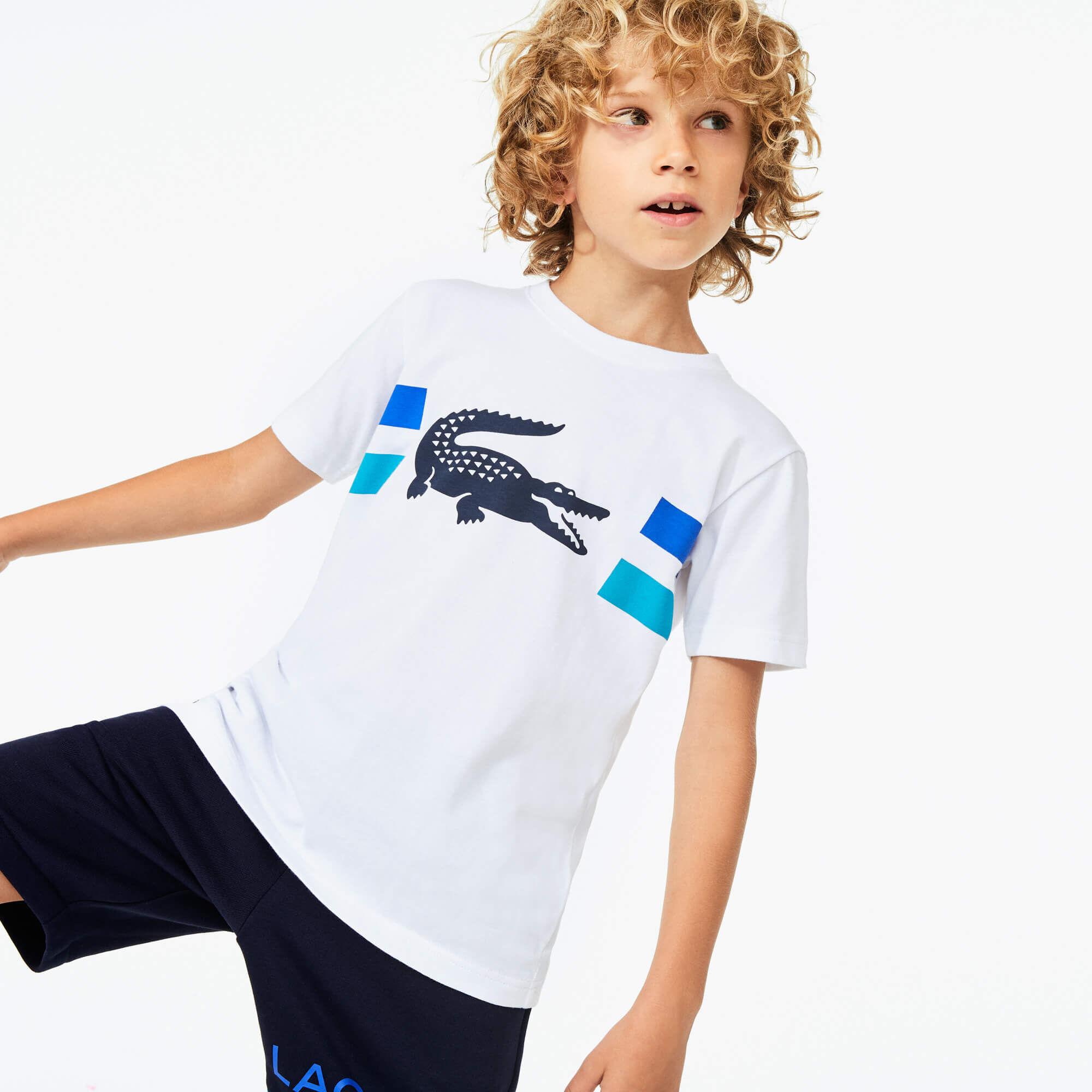 قميص تي شيرت مسامي للصبية من الجيرسي بطبعة التمساح من مجموعة Lacoste SPORT