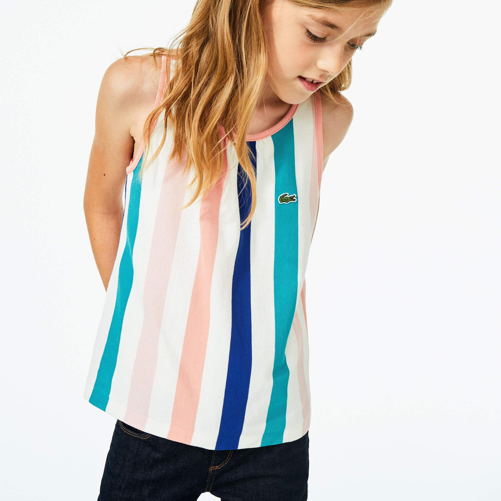 Girls' Striped Cotton Piqué Tank Top