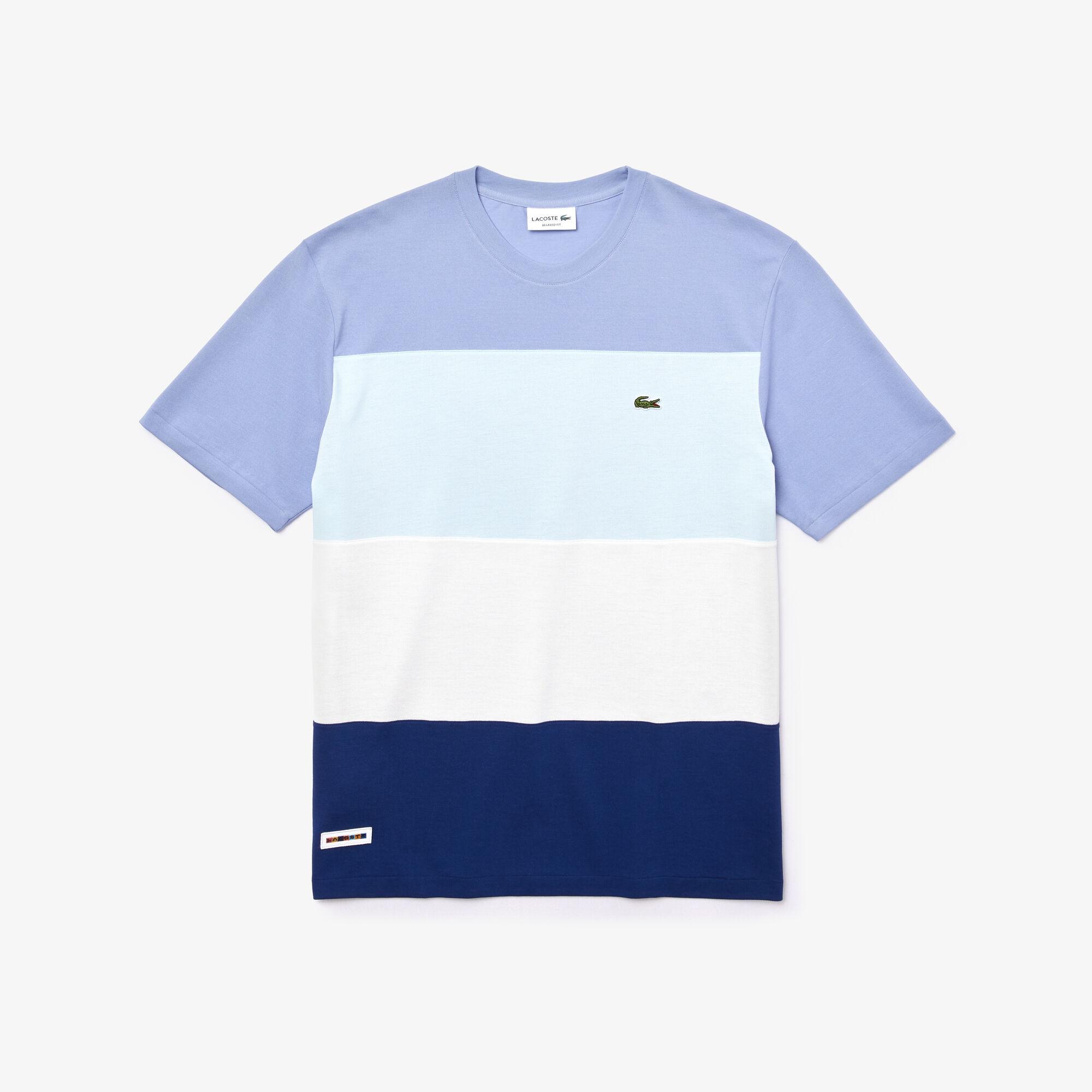 Men's Colourblock Striped Cotton Piqué Crew Neck T-shirt