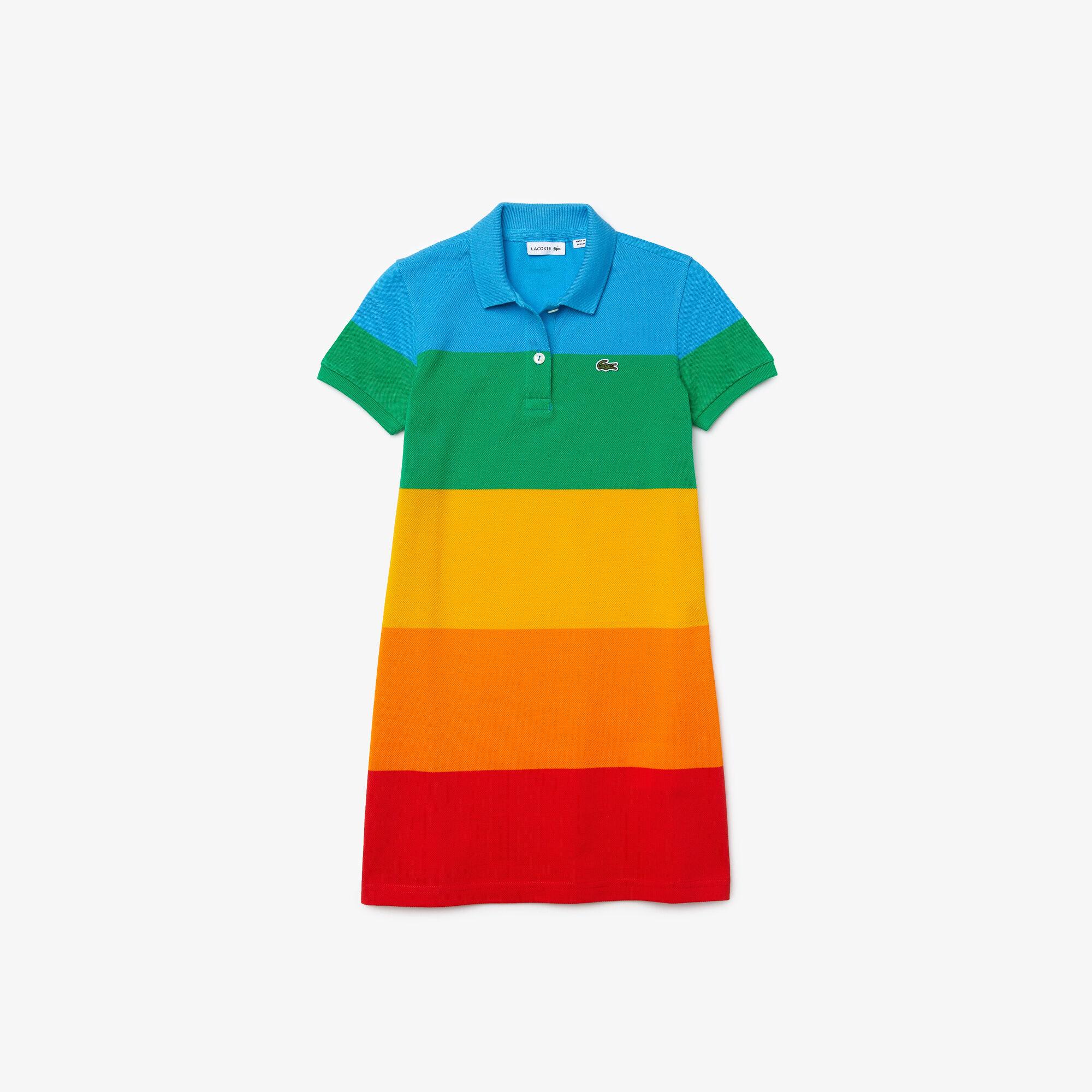 Girls' Polaroid Collaboration Color Striped Cotton Polo Dress