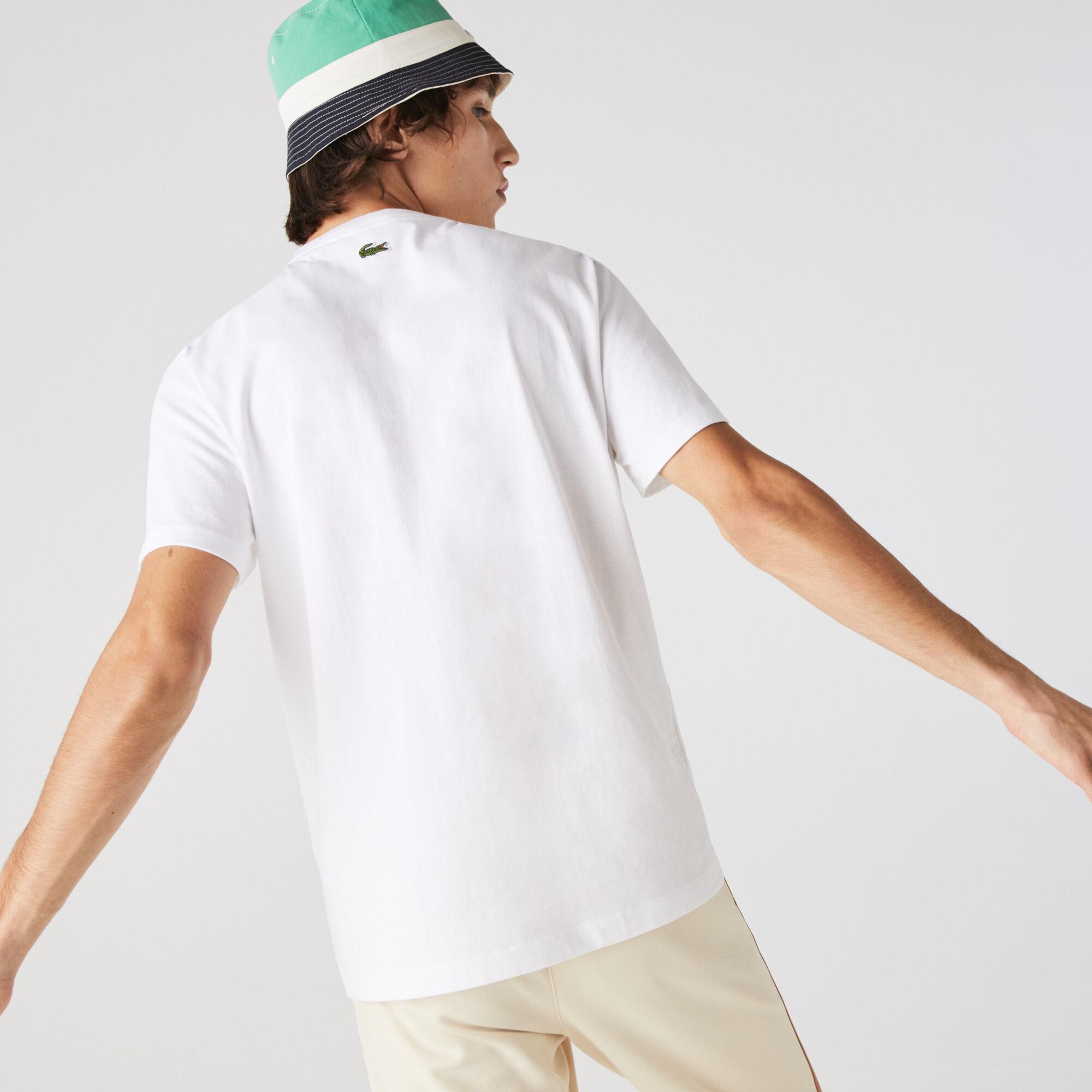 Men's Crew Neck Crocodile Embroidery Cotton T-shirt