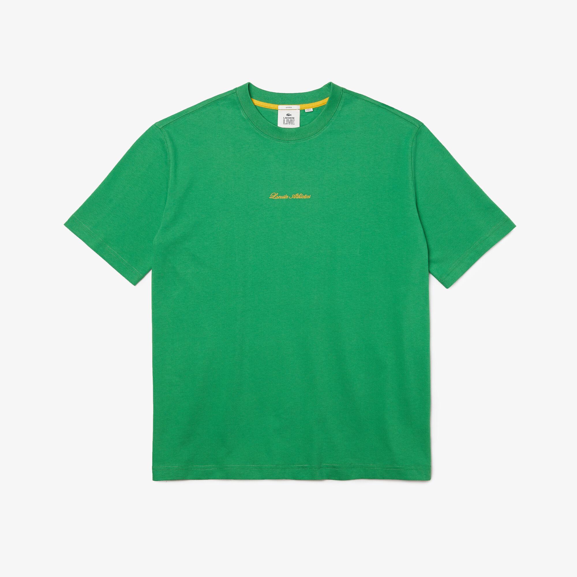 Unisex Lacoste LIVE Loose Fit Golden Embroidery Cotton T-shirt
