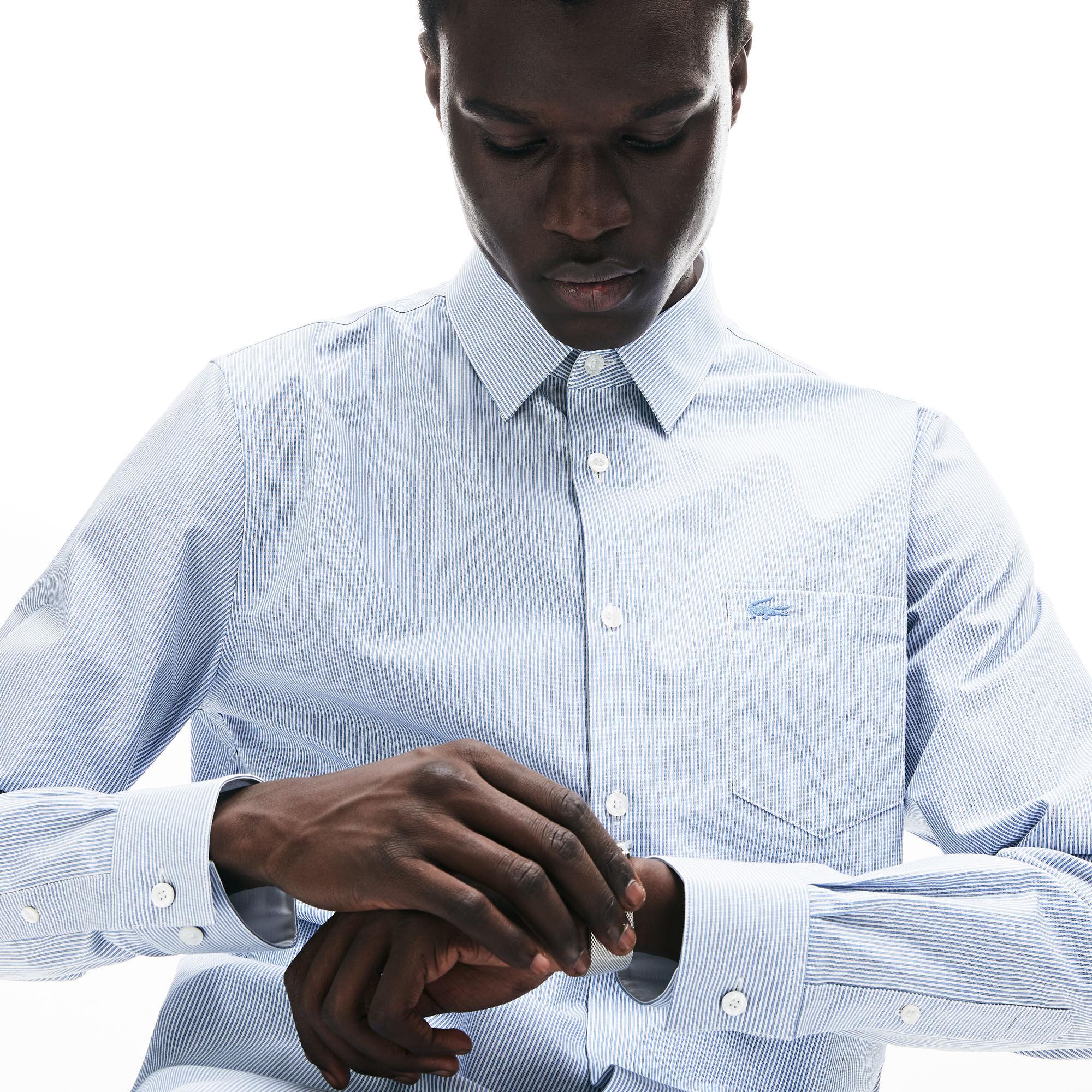 Men's Regular Fit Vertically Striped Cotton Poplin Shirt