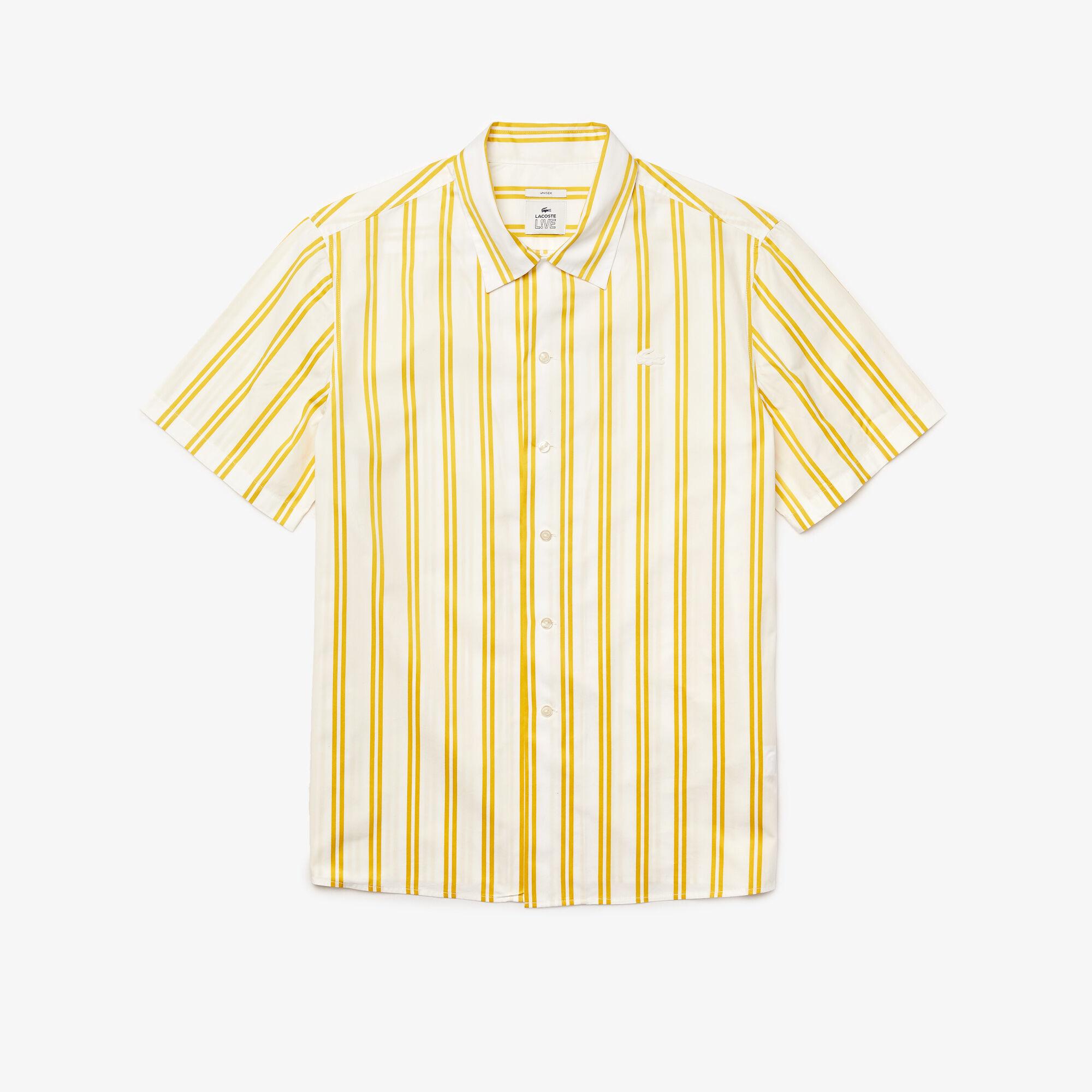 قميص ساتان مقلم مجموعة Lacoste LIVE للجنسين
