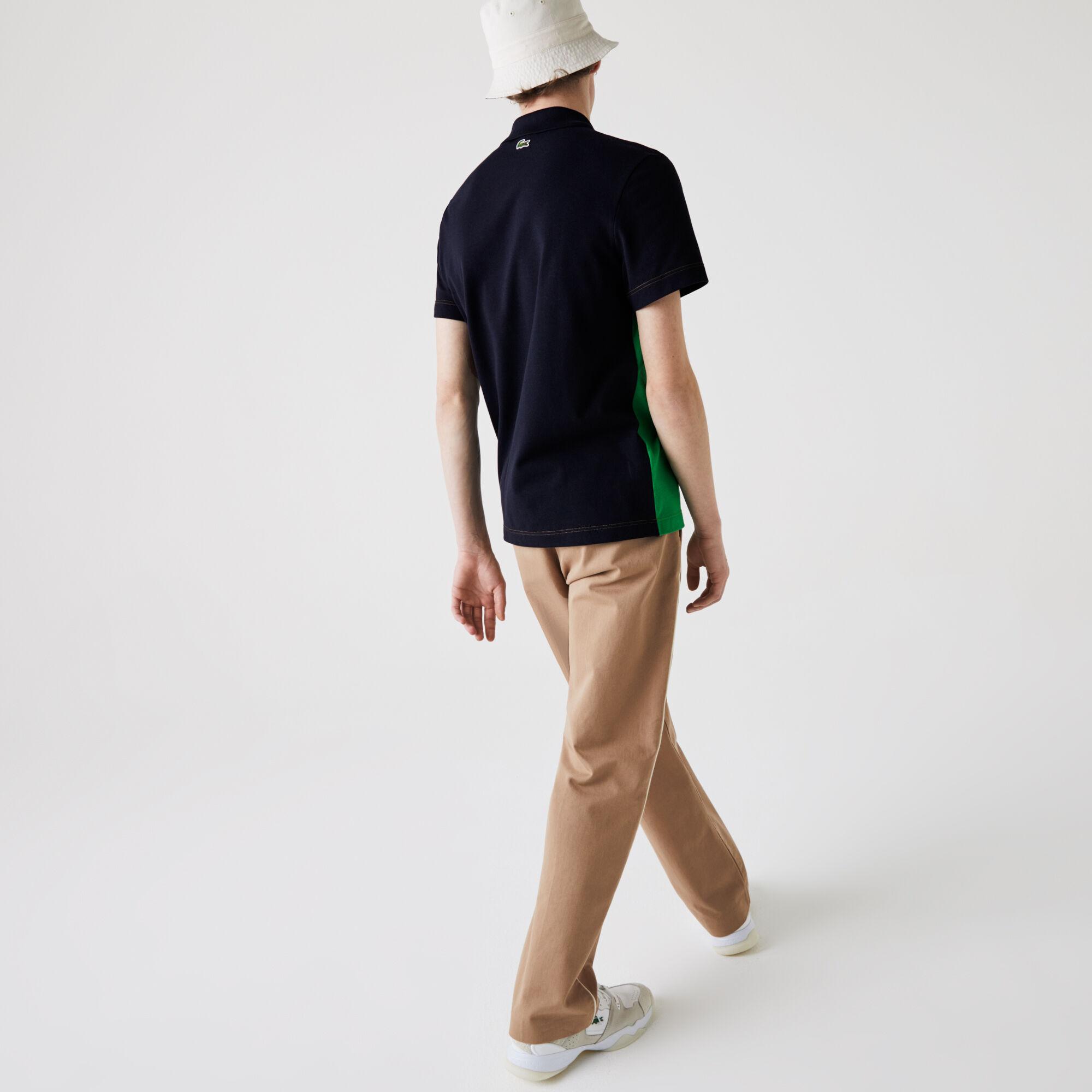 قميص بولو من بيكيه القطن بكتل لونية قصة عادية للرجال