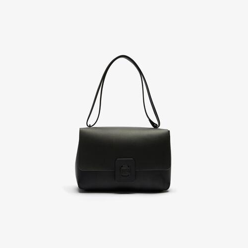 Women's Croco Turn Crocodile Clasp Large Leather Shoulder Bag