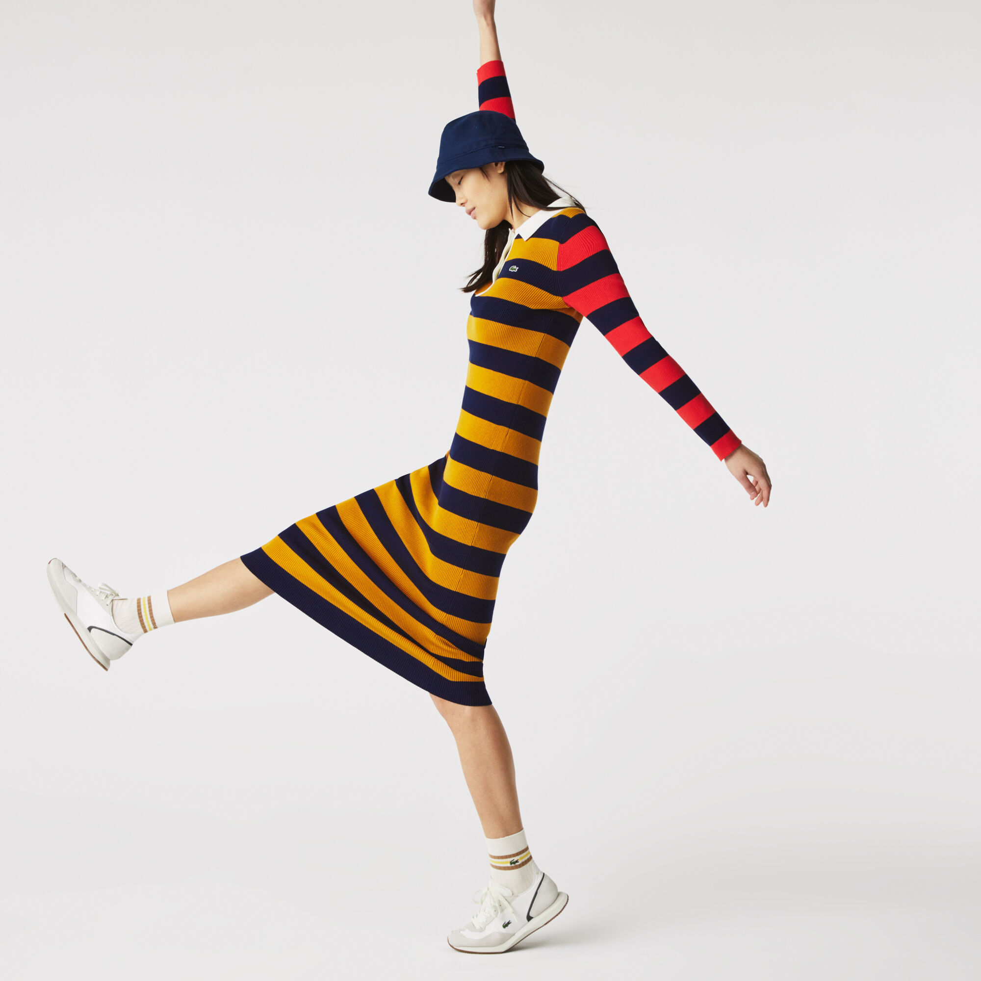 Women's Fitted Striped Ribbed Mid-Length Polo Dress