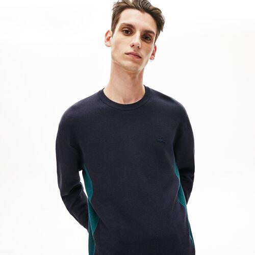 قميص ثقيل محيك بلون متباين للرجال