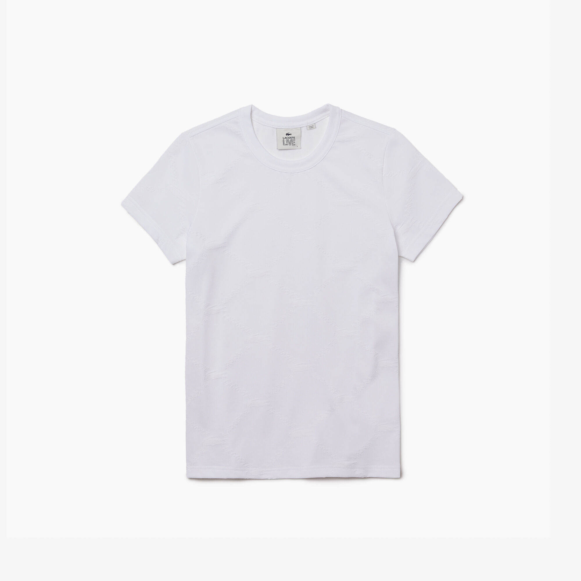 Women's Lacoste LIVE Crew neck Monogram Patterned T-shirt