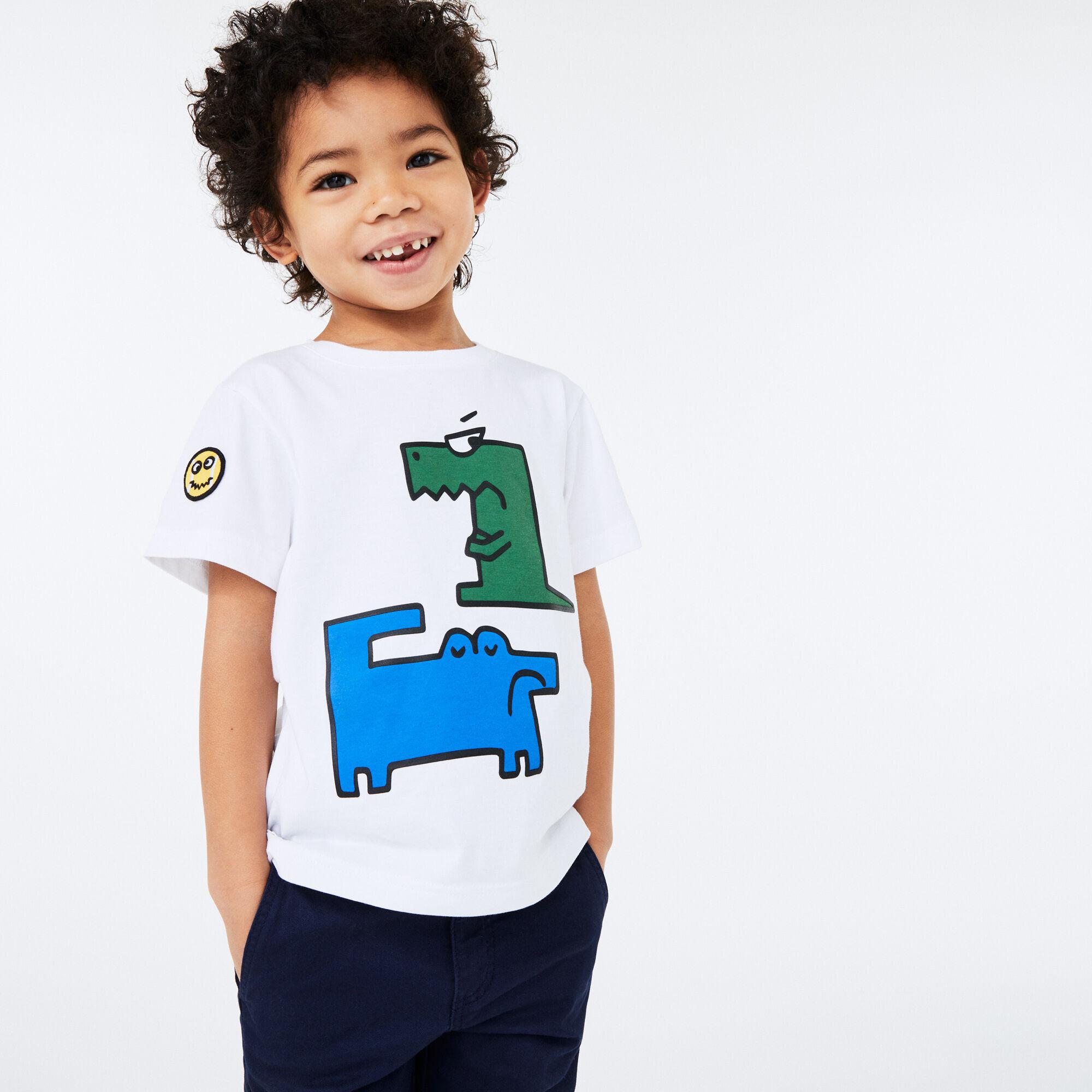 تي شيرت قطن بفتحة رقبة مستديرة مع شعار التمساح المطبوع للأولاد