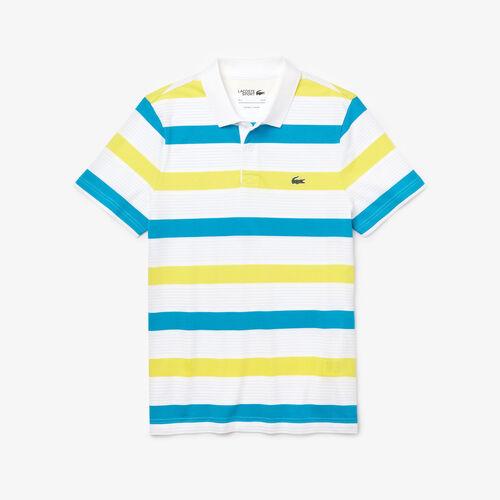 قميص بولو من مجموعة Lacoste Sport مخطط ومحيك من قطن فائق الخفة للرجال