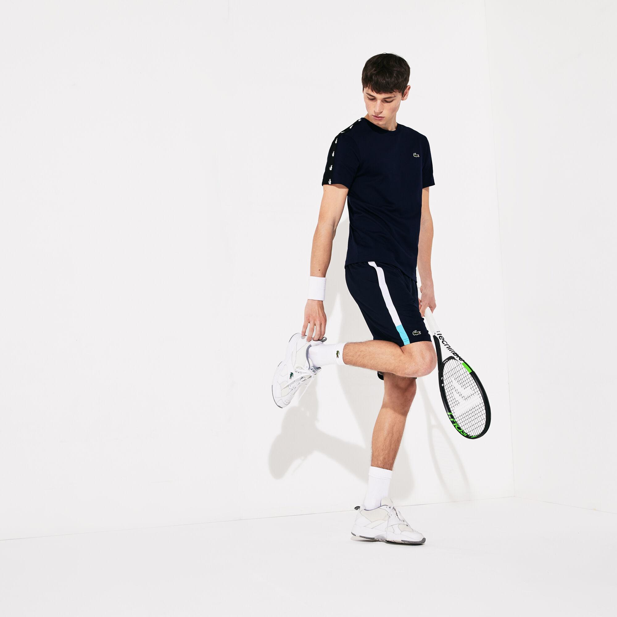 Men's Lacoste SPORT Branded Contrast Striped Light Shorts
