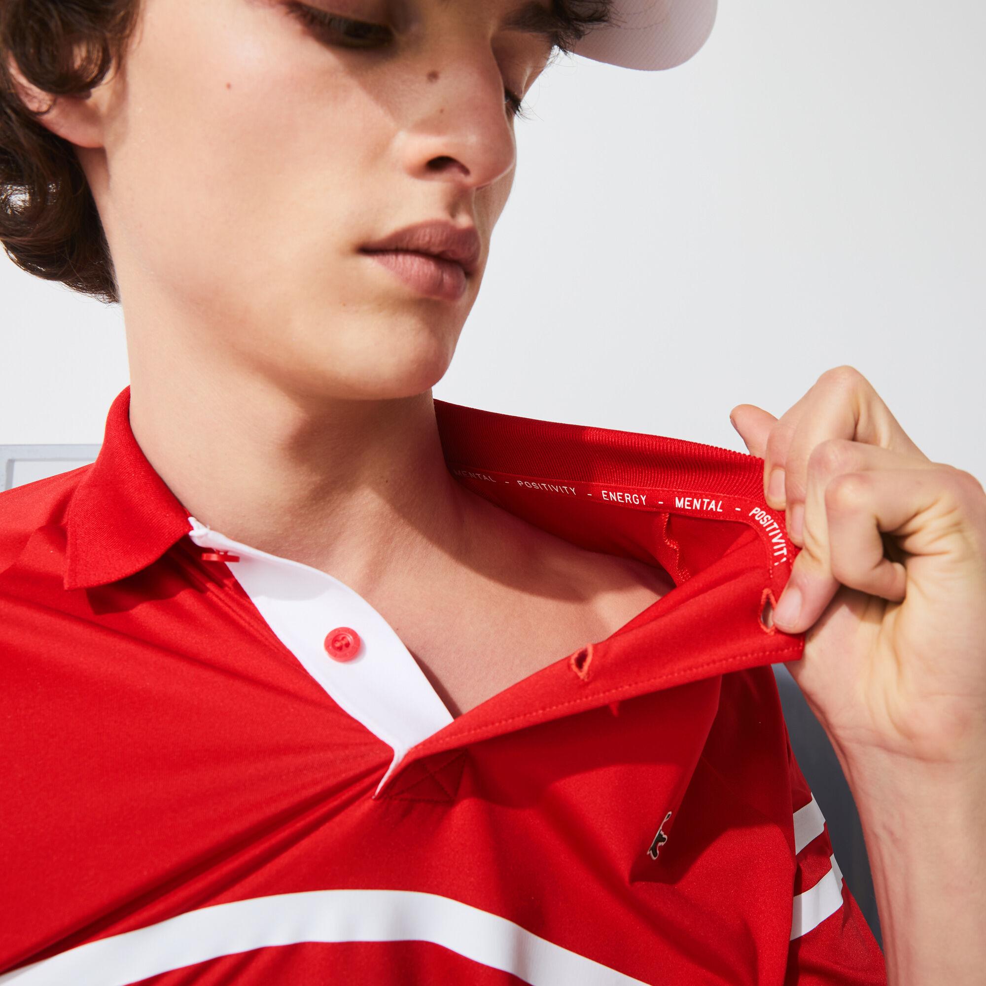 قميص بولو مقلم فائق الخفة للرجال مجموعة Lacoste SPORT و Novak Djokovic
