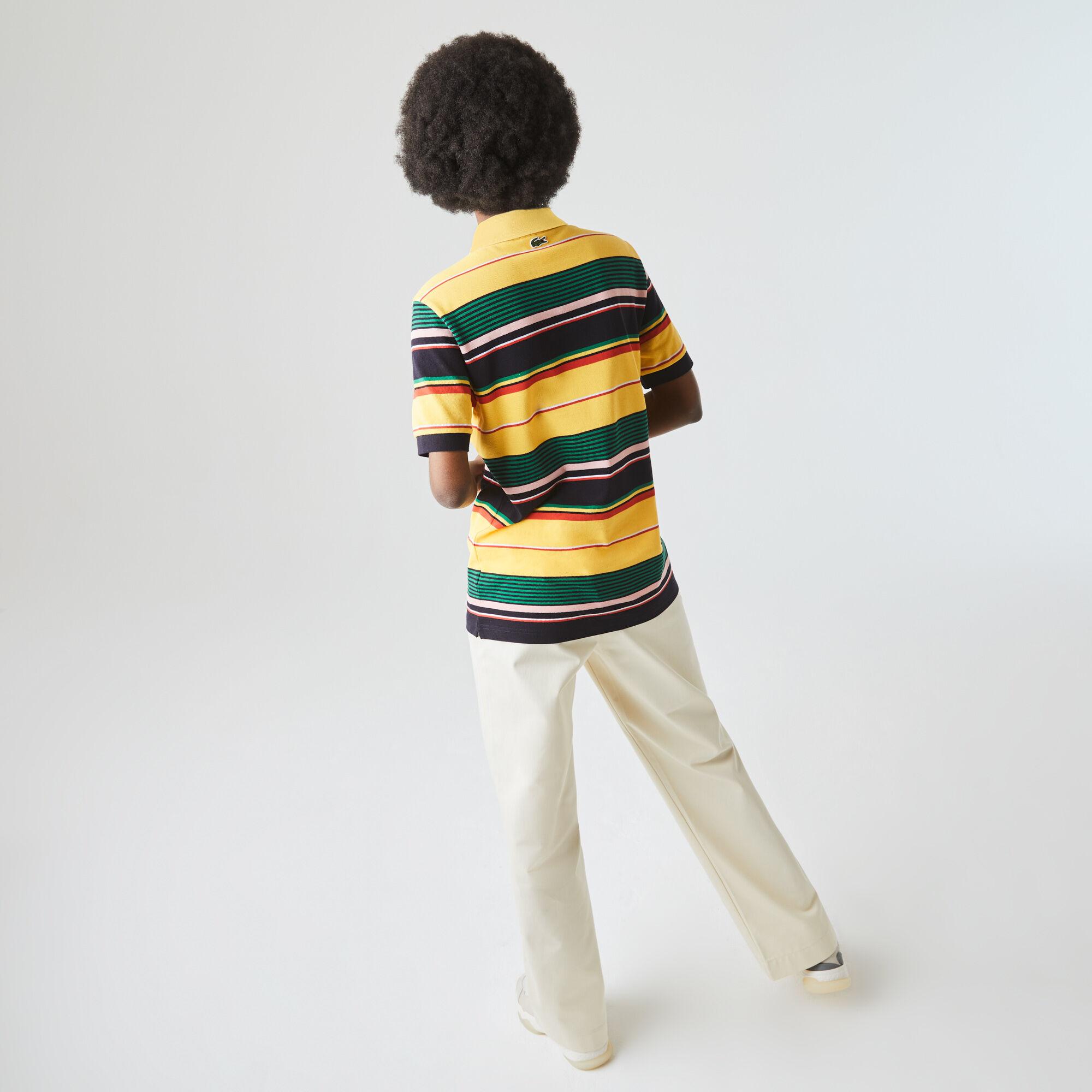 Unisex Lacoste LIVE Embroidered Striped Cotton Piqué Polo