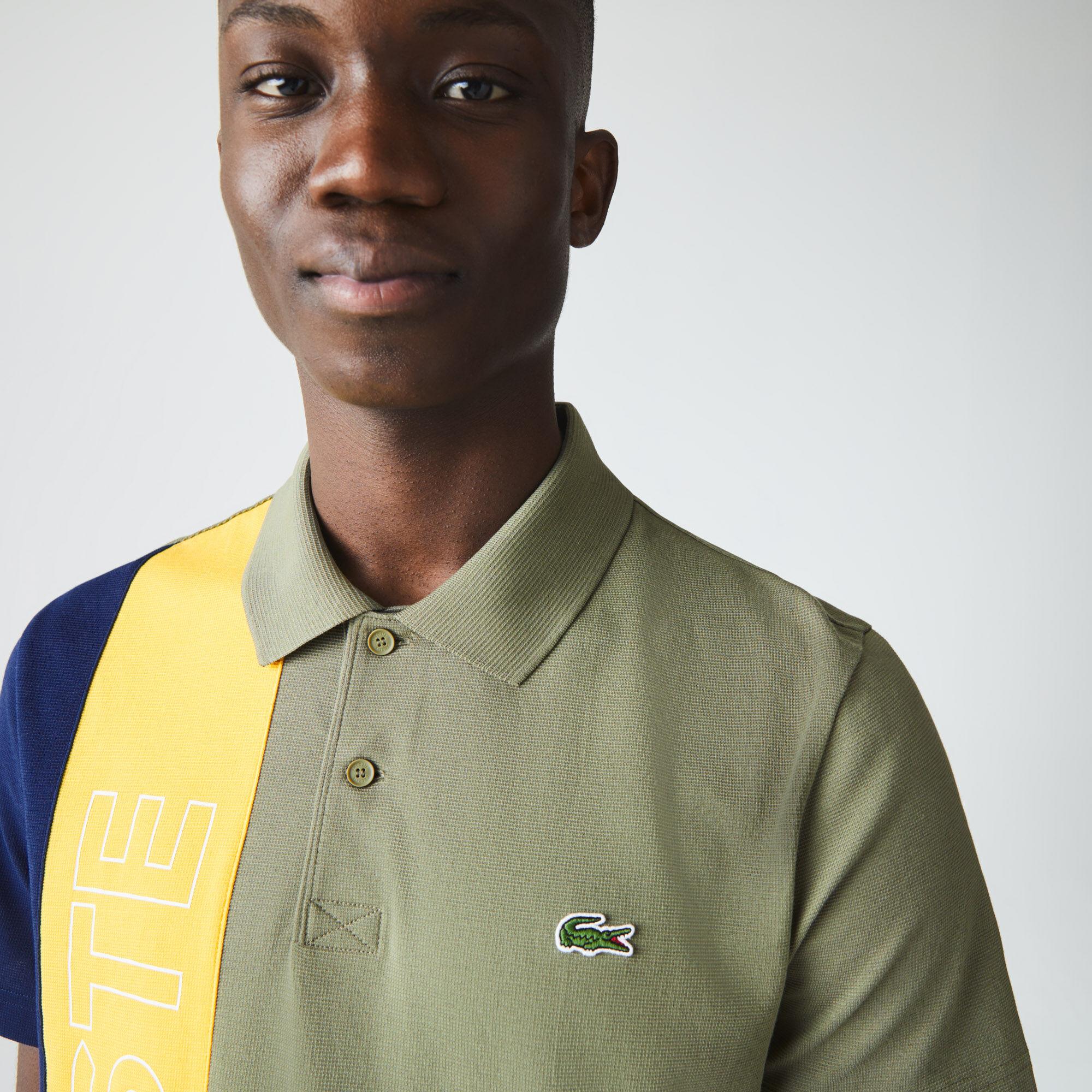 قميص بولو للرجال قصة عادية بكتل لونية من نسيج محبوك فائق الخفة