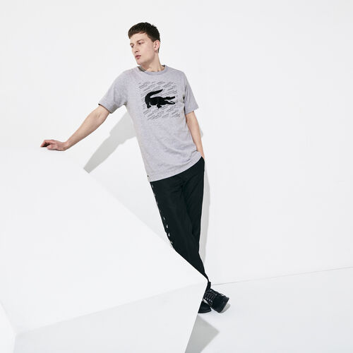 قميص تي-شيرت قطني مطبوع عليه علامة تمساح عاكسة للضوء من مجموعة Lacoste Sport للرجال