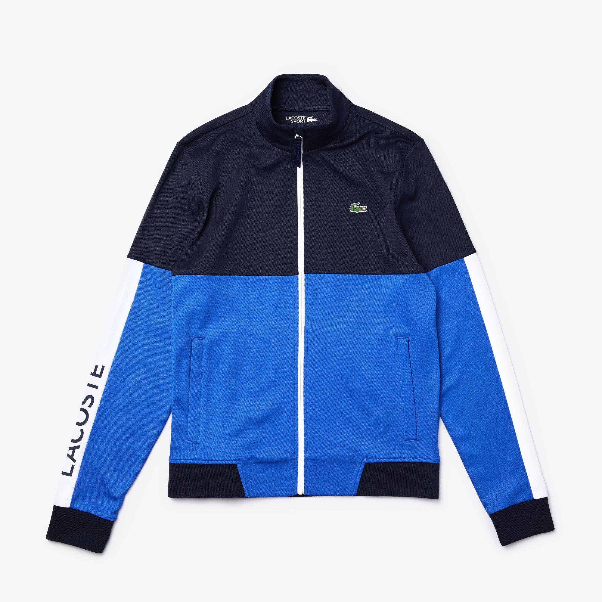 Men's Lacoste SPORT Colourblock Resistant Piqué Zip Sweatshirt