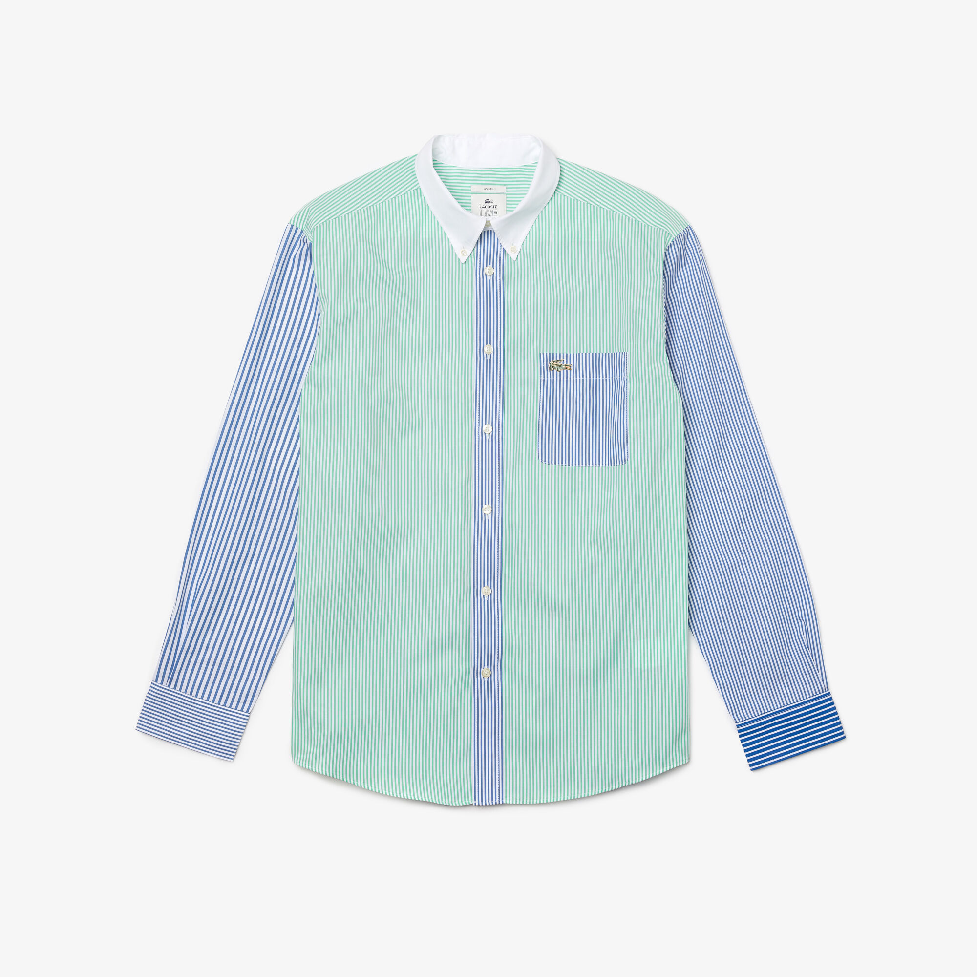 Unisex Lacoste LIVE Relaxed Fit Striped Cotton Shirt