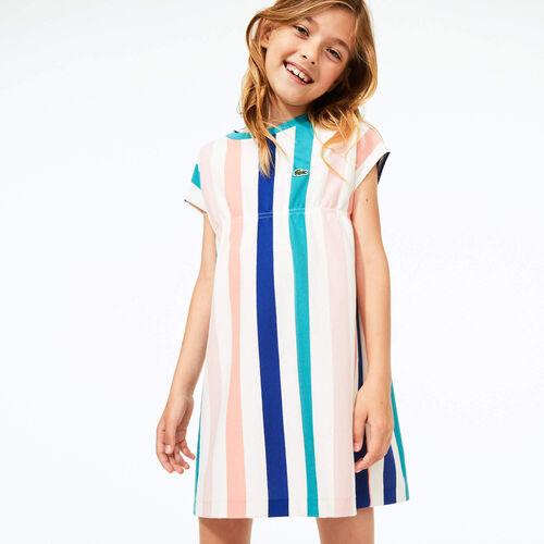 فستان بناتي مخطط قطن بيكيه