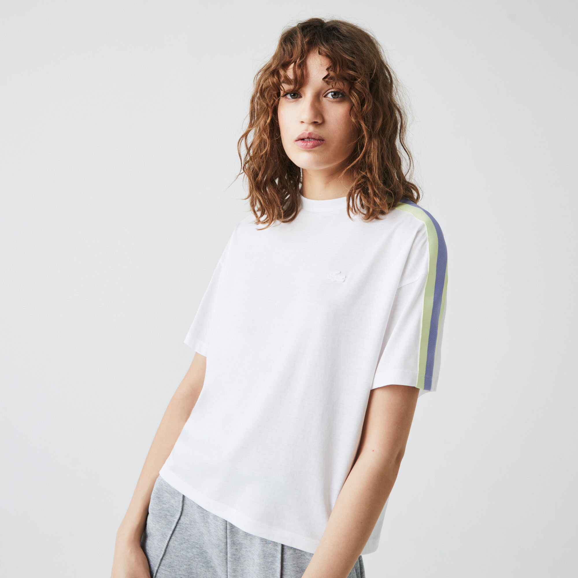 Women's Contrast Bands Flowing Cotton Blend T-shirt