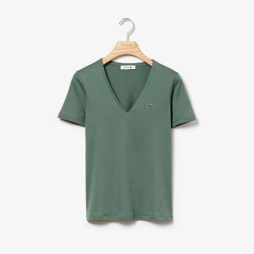 قميص تي-شيرت نسائي من قطن الجيرسيه ذو قصة ضيقة وفتحة رقبة على شكل حرف V