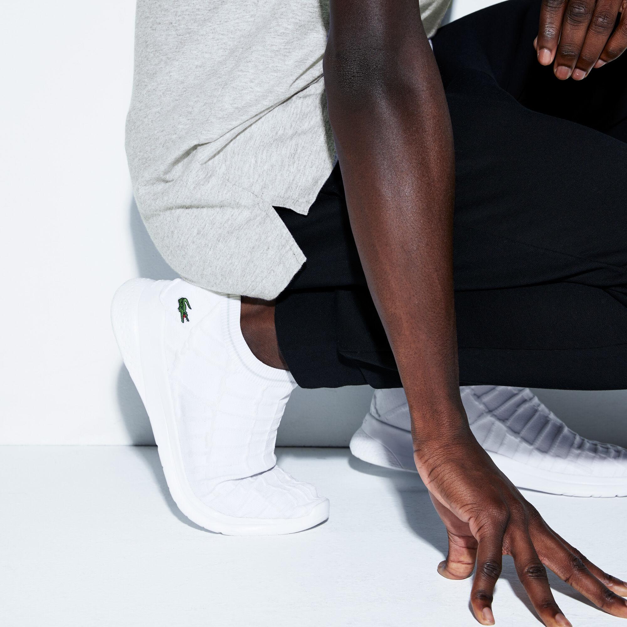 Men's Lacoste SPORT Zip Neck Holographic Croc Cotton Polo Shirt