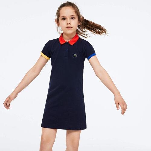 فستان قطني للفتيات بتصميم بولو بلمسات متباينة