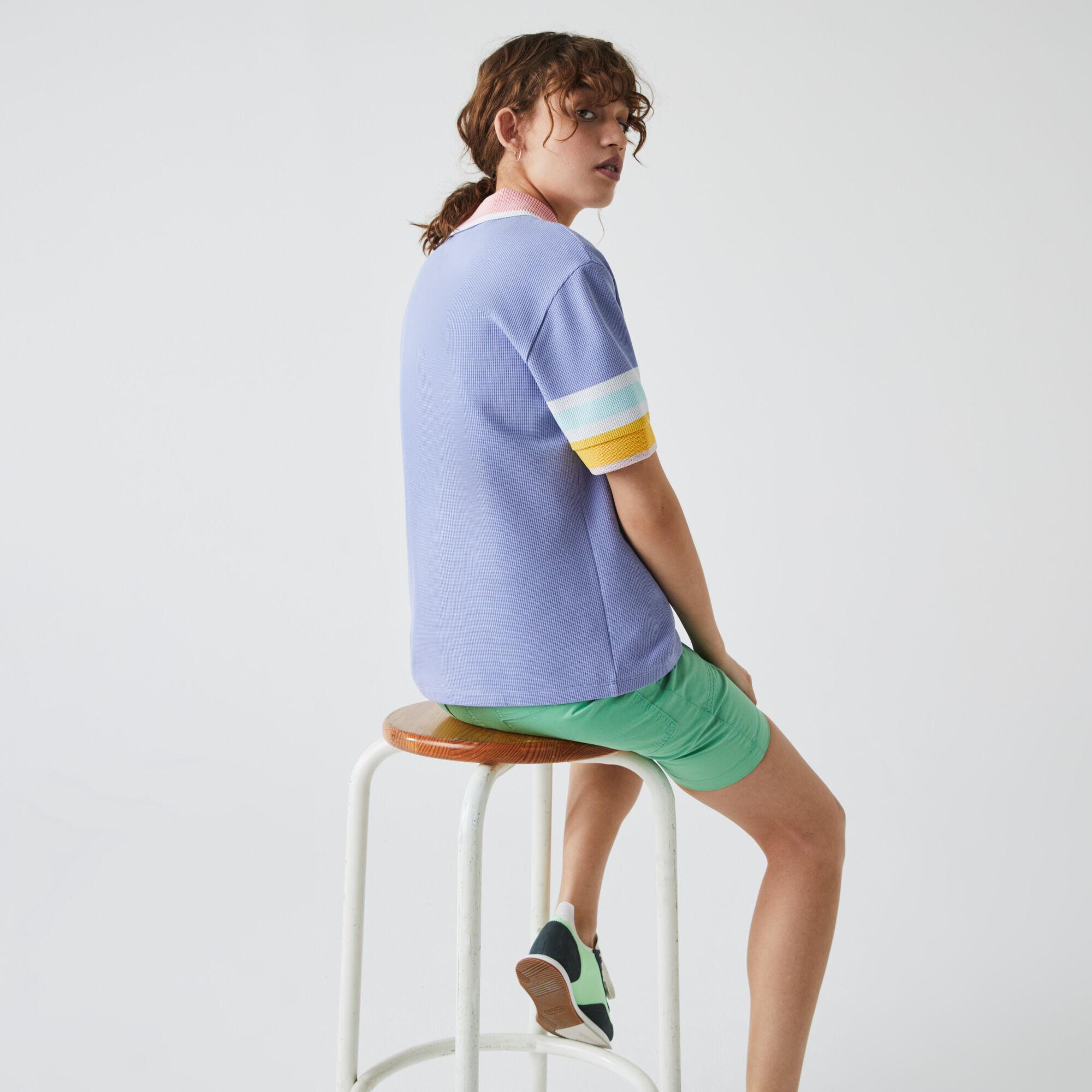 قميص بولو قطني متعرج الملمس للنساء كم مخطط