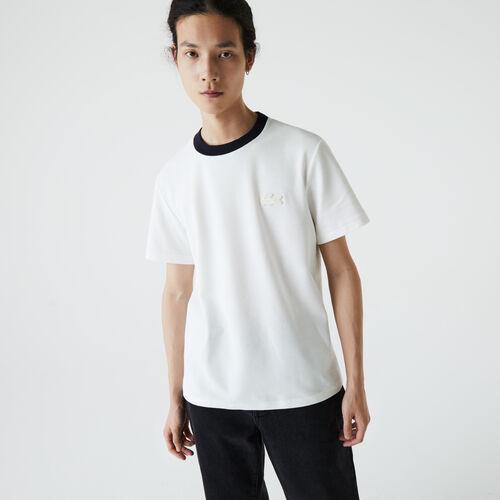 Men's Contrast Crew Neck Loose Fit Textured Cotton T-shirt