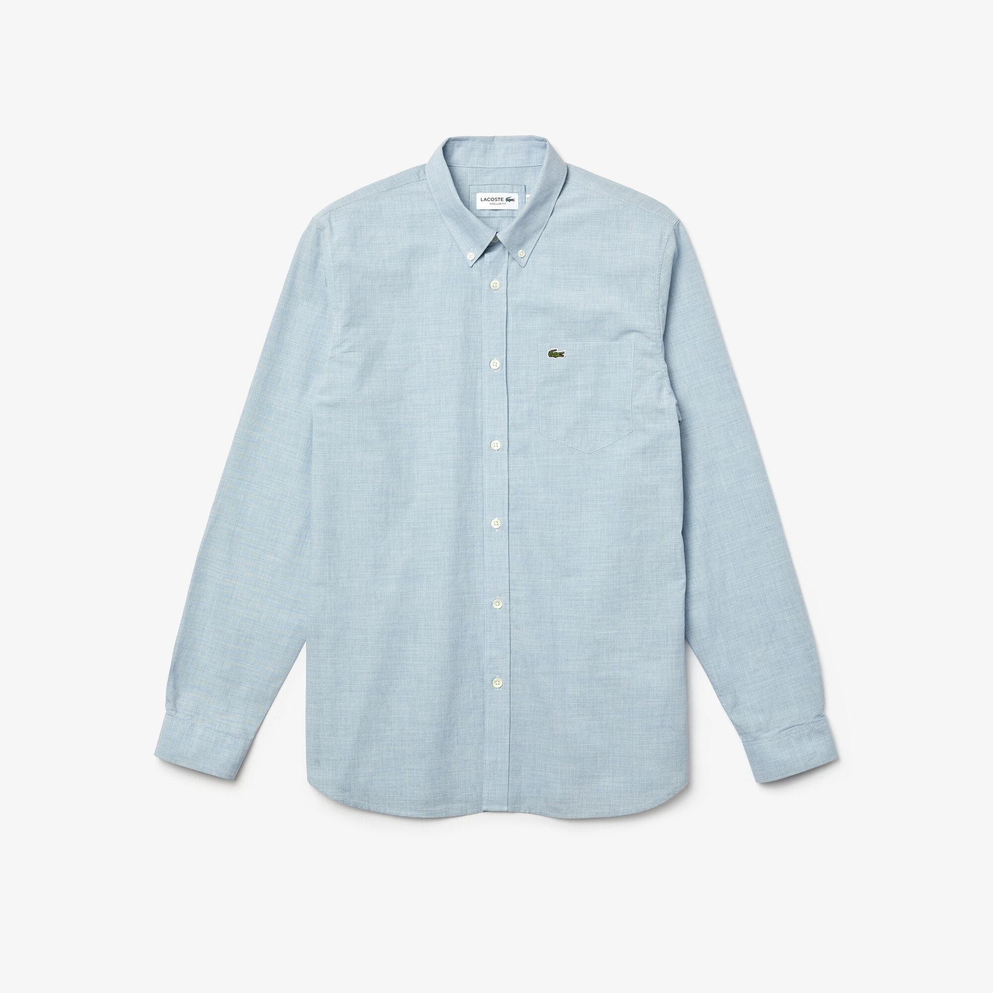 قميص قطن مع نقشة هاوندستوث صغيرة بقصة ضيقة للرجال