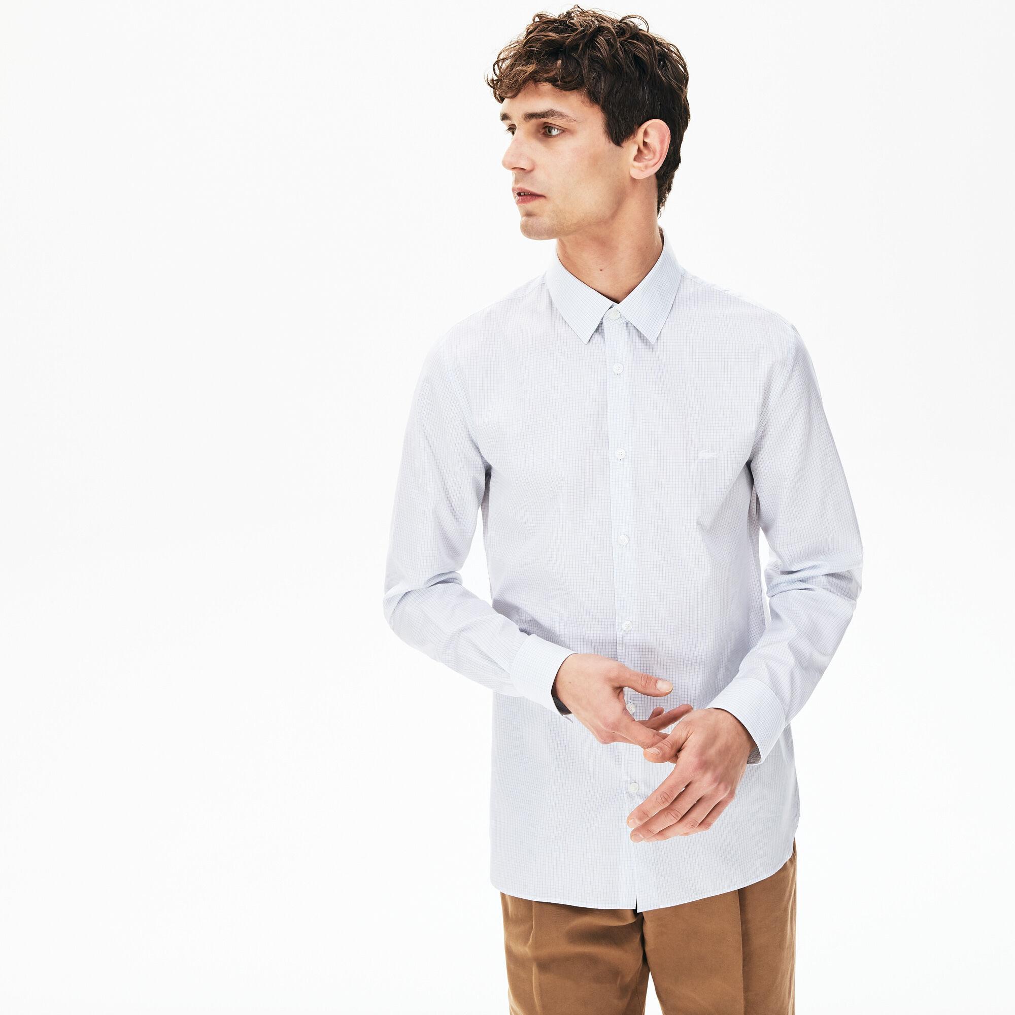 قميص قطني فاخر بنمط المربعات الصغيرة للرجال