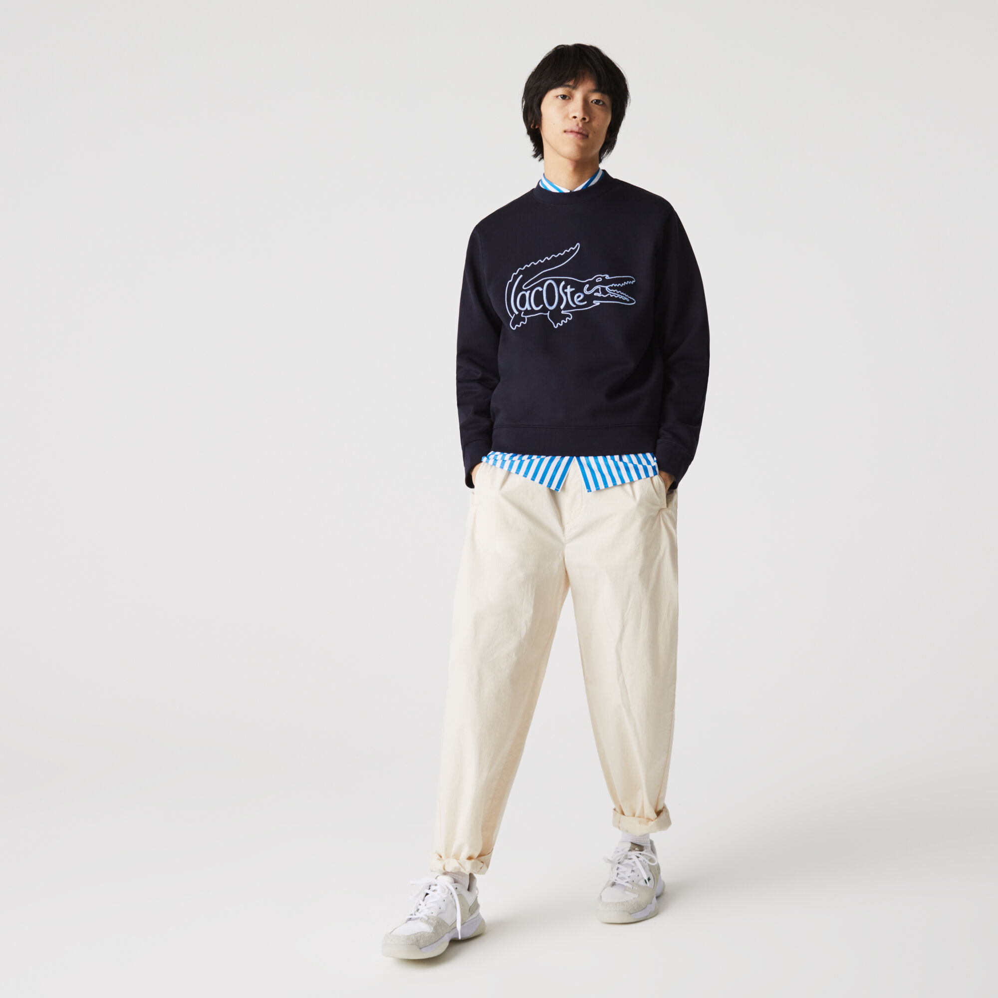 Men's Crew Neck Embroidered Crocodile Cotton Fleece Sweatshirt