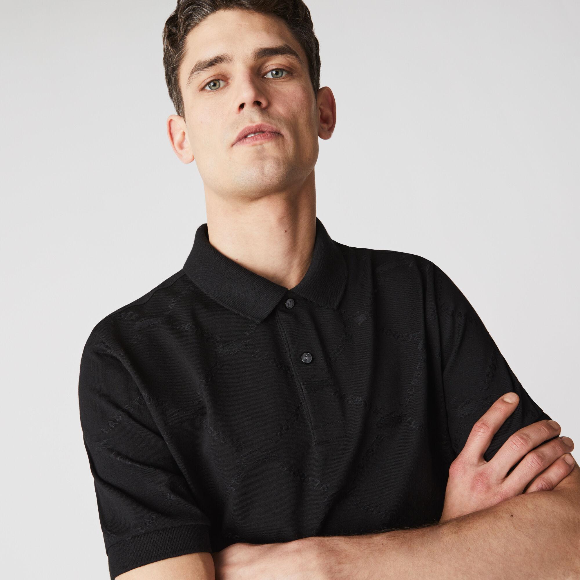 Men's Lacoste LIVE Standard Fit Monogram Patterned Polo
