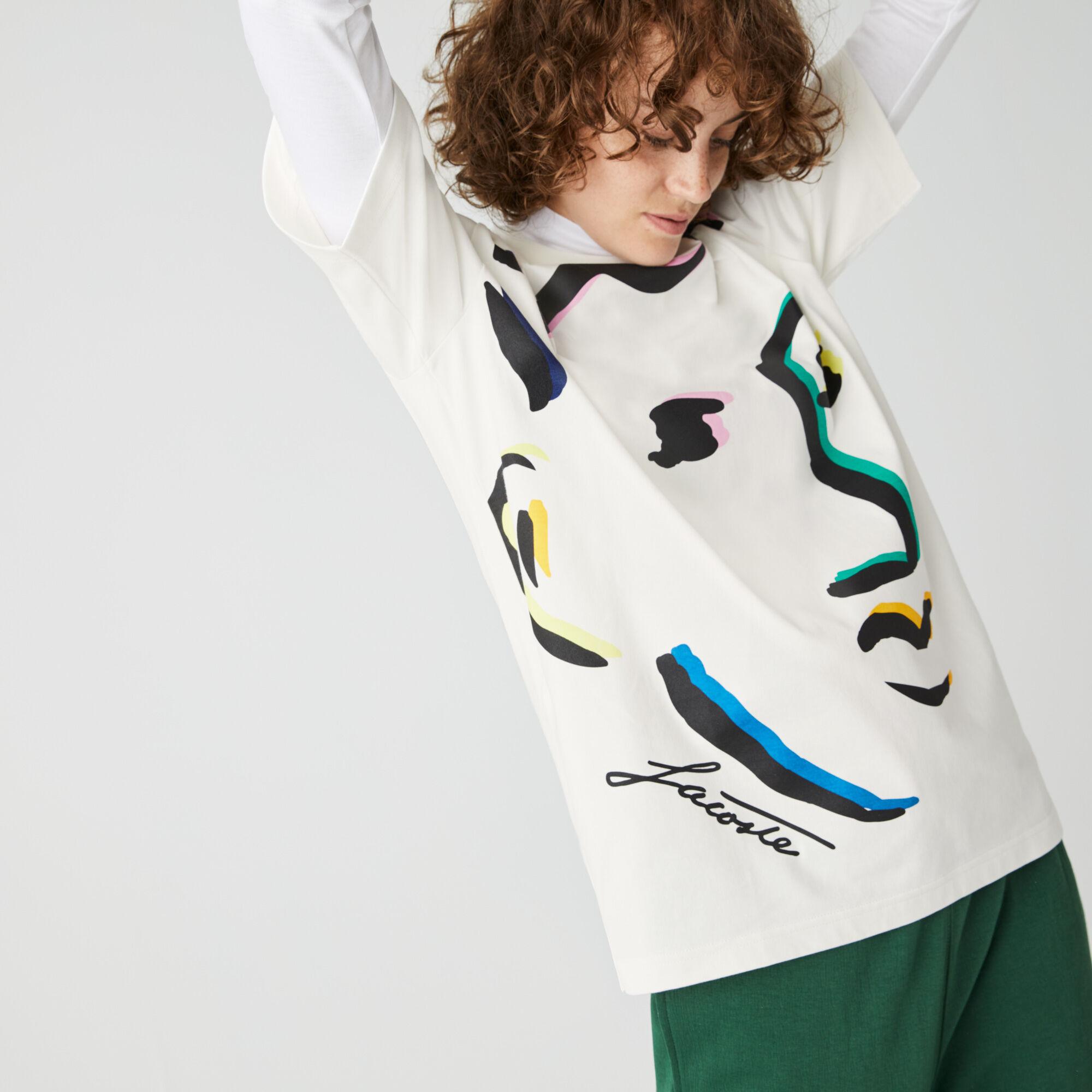 Unisex Lacoste LIVE Face Print Cotton T-shirt