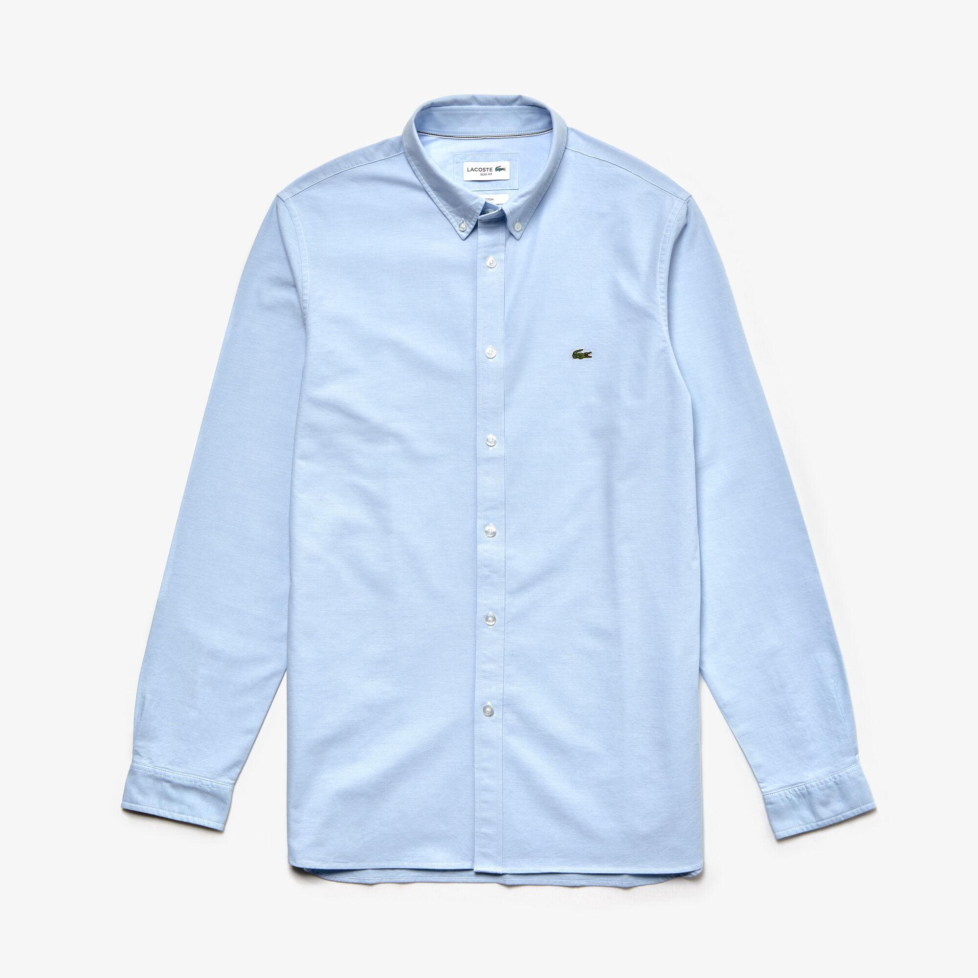 قميص للرجال ذو قصة ضيقة من قطن أوكسفورد المرن