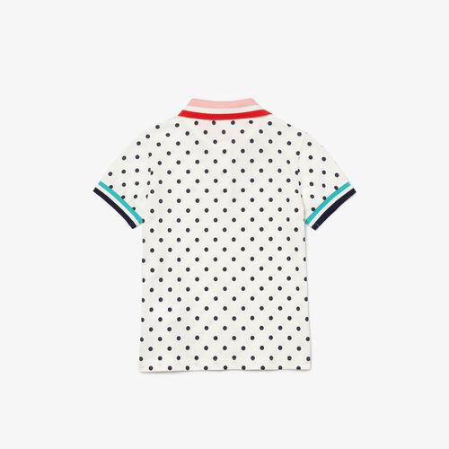 قميص بولو من بيكيه القطن للبنات مع طباعة دوائر البولكا