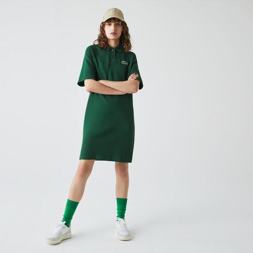 فستان بولو من بيكيه القطن المرن للنساء