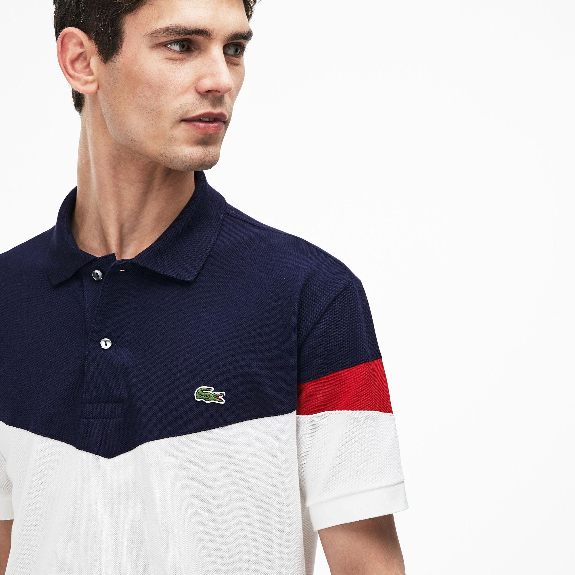 Men's Lacoste Classic Fit Colourblock Cotton Petit Piqué Polo Shirt