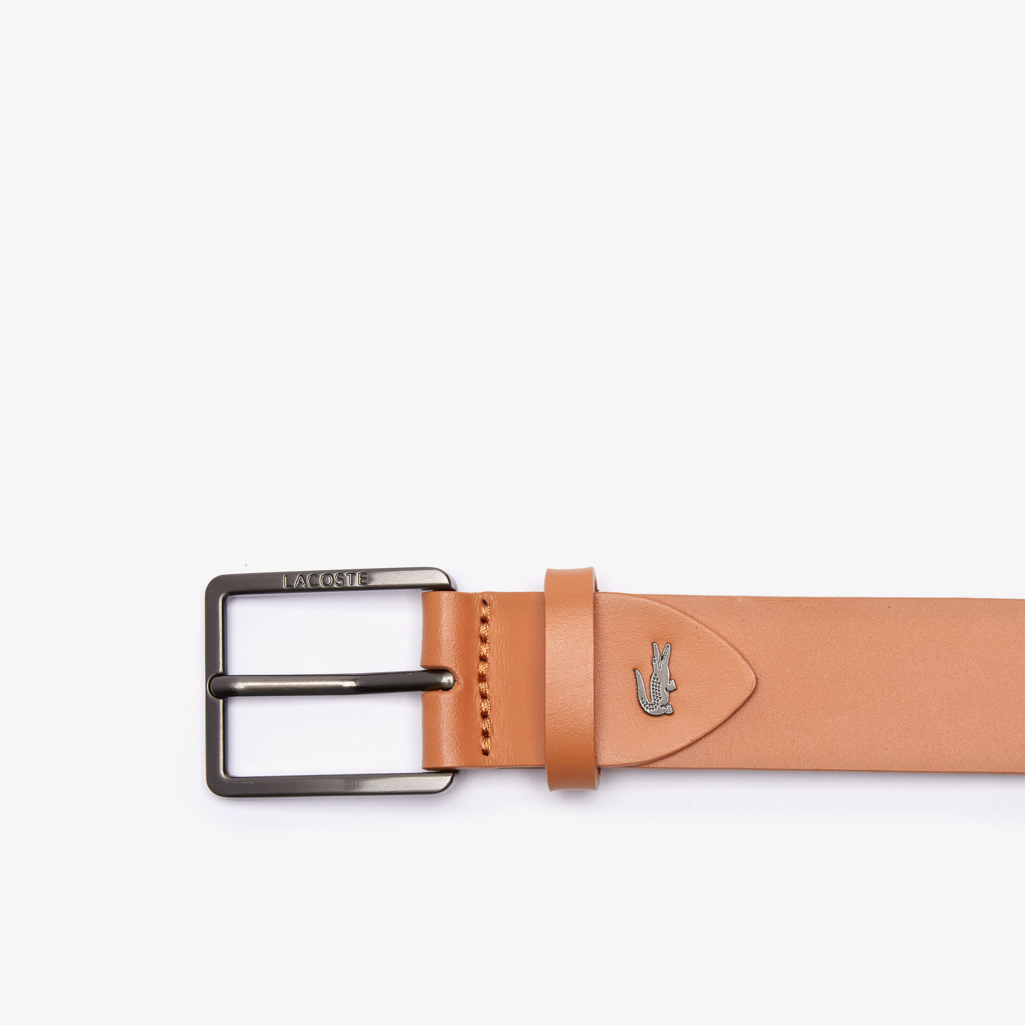 Men's Engraved Lacoste And Embossed Crocodile Leather Tongue Buckle