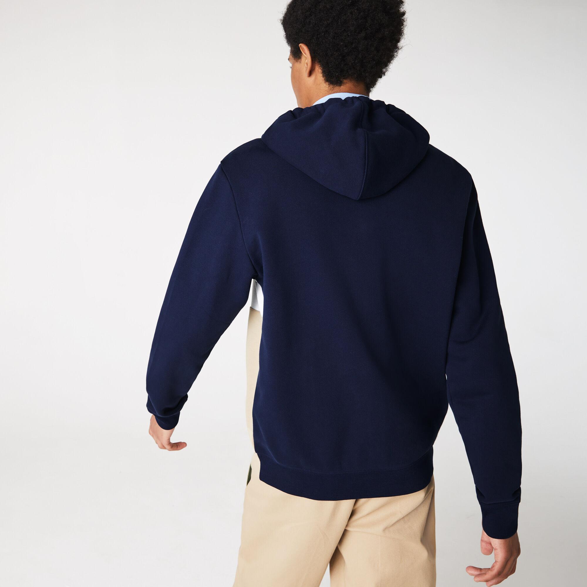 Men's Colourblock Fleece Zippered Hooded Sweatshirt
