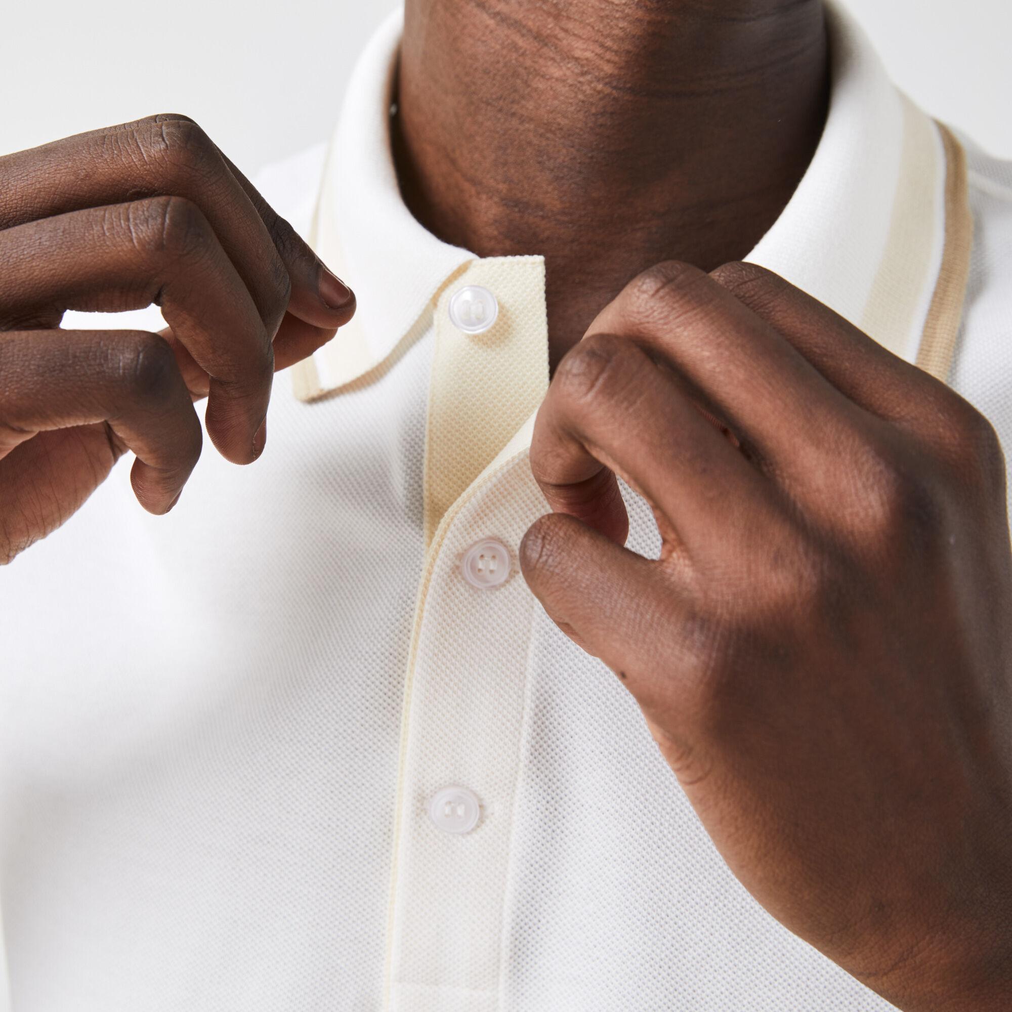Men's Lacoste Slim Fit Striped Collar Cotton Piqué Polo
