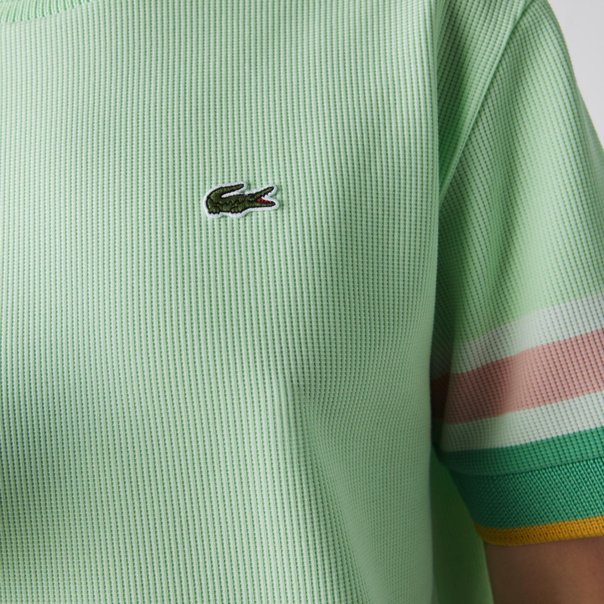 Women's Crew Neck Striped Accents Honeycomb Cotton T-shirt