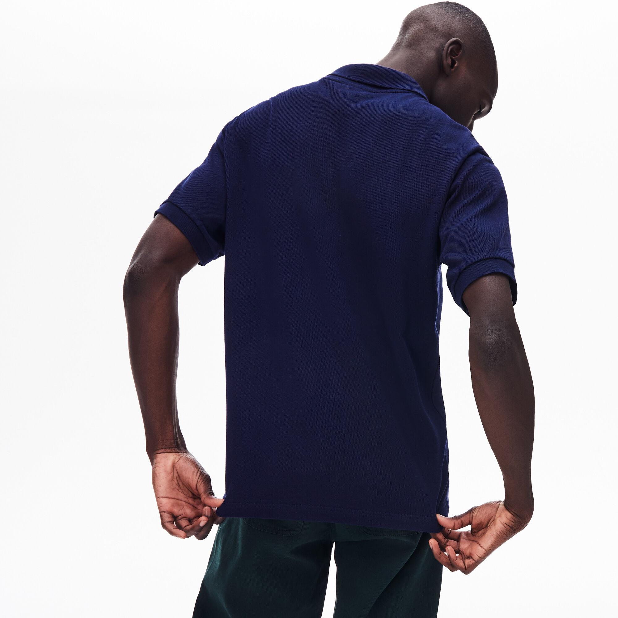 قميص بولو للرجال مقلم محيك من قطن البيكيه من مجموعة Lacoste L.12.12