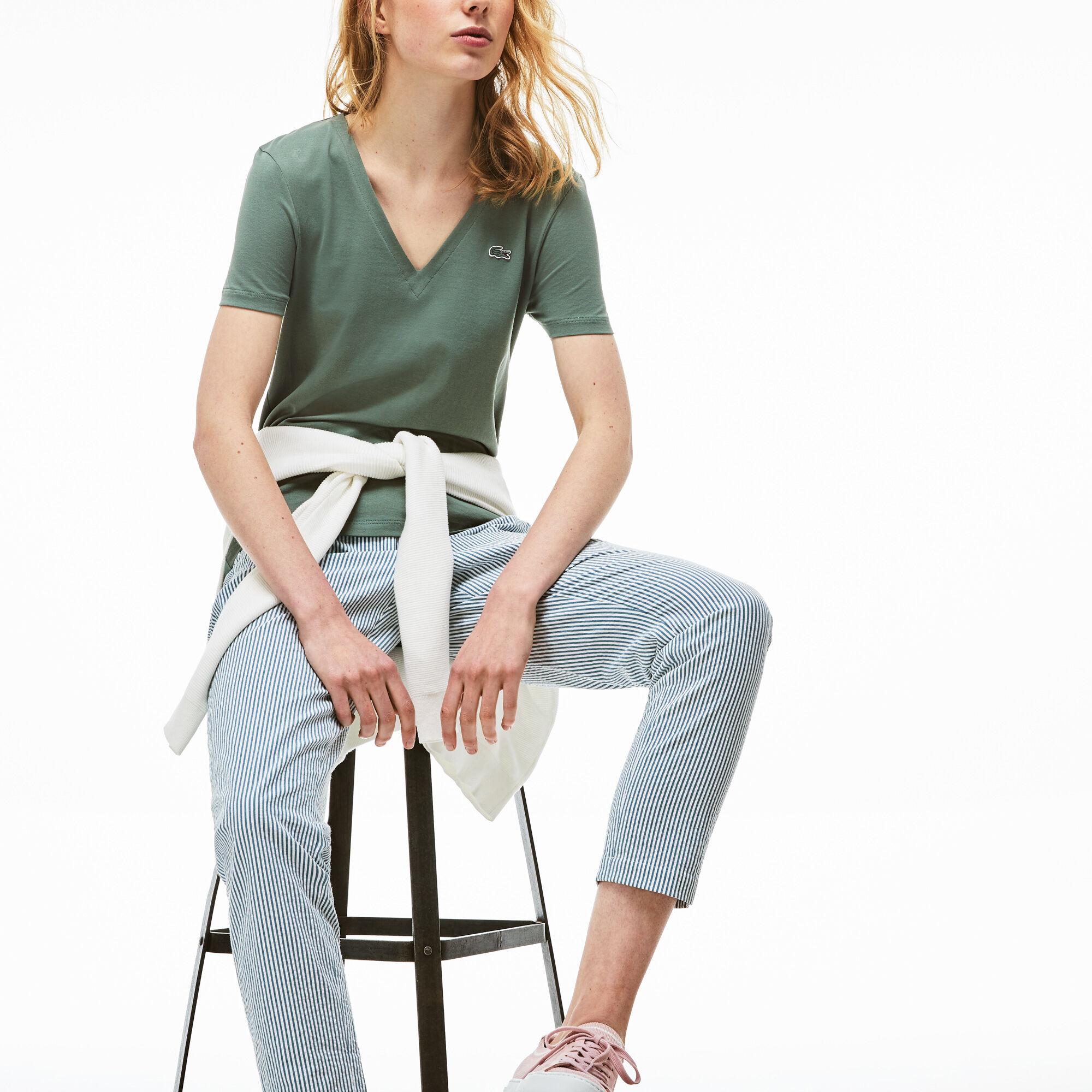 Women's Slim Fit V-Neck Cotton Jersey T-shirt
