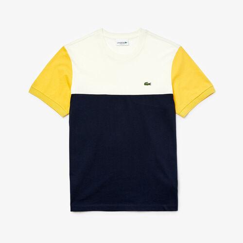 قميص تي-شيرت بفتحة رقبة مستديرة وألوان جريئة من القطن للرجال